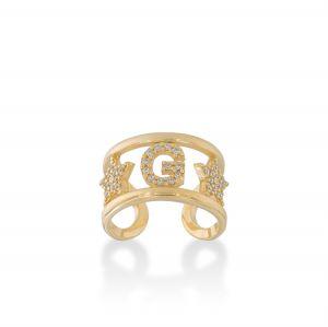 Anello con lettera e zirconi bianchi - placcato oro