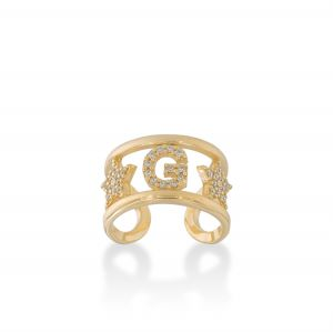 Letter and stars ring with white cubic zirconia - gold plated
