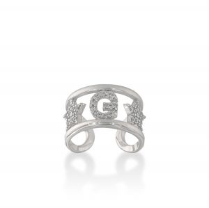 Letter and stars ring with white cubic zirconia