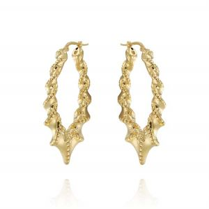 Twisted oval earrings - gold plated