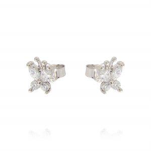 Butterfly earrings with oval cubic zirconia