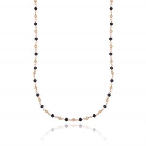 Long necklace with black and champagne stones - rosé plated