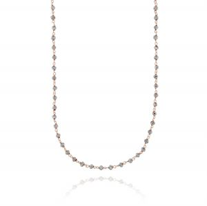 Long necklace with grey stones - rosé plated