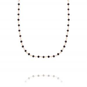 Collana spinello con pietre nere - placcato rosé