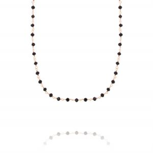 Necklace with black stones - rosé plated