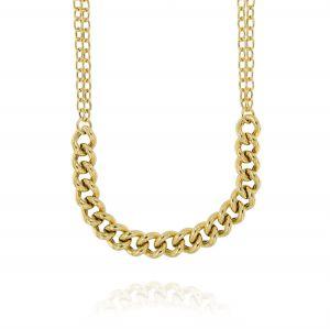 Collana rolò a due fili con catena groumette grossa al centro - placcato oro