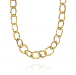 Collana con anelli fope e anelli lucidi - placcato oro