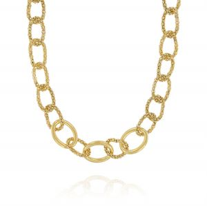 Fope chain rings necklace with three glossy ring - gold plated