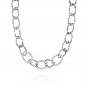 Fope chain rings necklace with three glossy ring