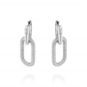 Earrings with glossy oval and cubic zirconia oval