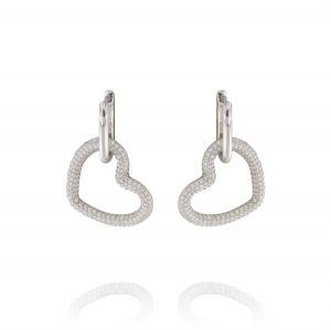 Earrings with glossy oval and cubic zirconia heart