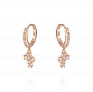 Hoop earrings with cross with cubic zirconia - rosé plated
