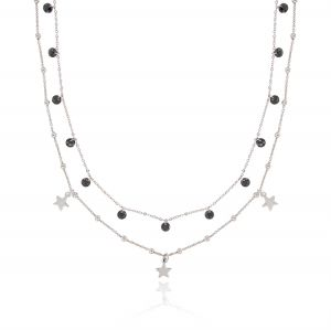 Double chain necklace with pendant stones and stars