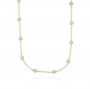 Necklace with 10 cubic zirconia along the chain - gold plated