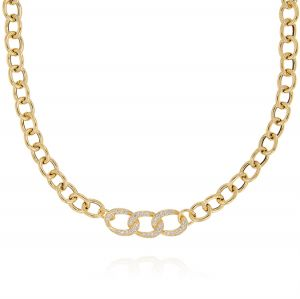 Rolò chain necklace with central curb chain rings - gold plated