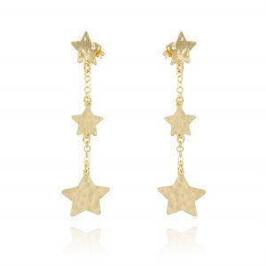 Orecchini con tre stelle con lastra battuta - placcato oro