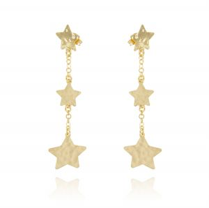 Worked plate earrings with three stars - gold plated