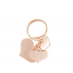 Ring with 3 pendant hearts with different sizes - rosé plated