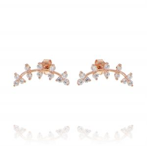 Helix branch shaped earrings with cubic zirconia - rosé plated