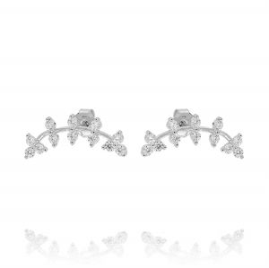 Helix branch shaped earrings with cubic zirconia