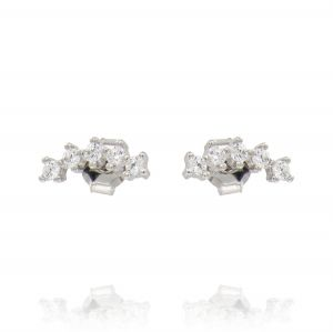 Curved helix earrings with cubic zirconia