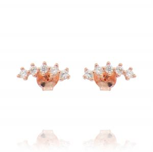 Curved helix earrings with cubic zirconia - rosé plated