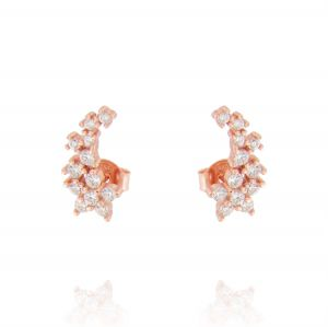 Climbing earrings with flower-shaped cubic zirconia - rosé plated