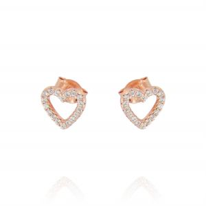 Openwork heart earrings with cubic zirconia - rosé plated