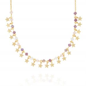 Necklace with purple and white stones and pendat stars - gold plated