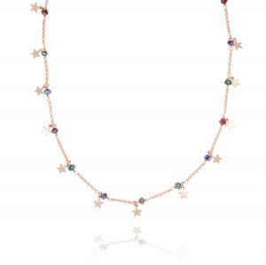 Colored stones and pendat stars necklace - rosé plated