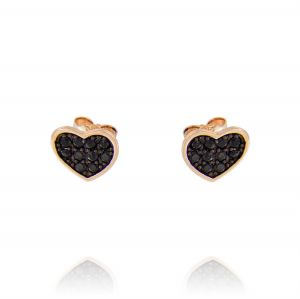 Flat heart earrings with black cubic zirconia - rosé plated