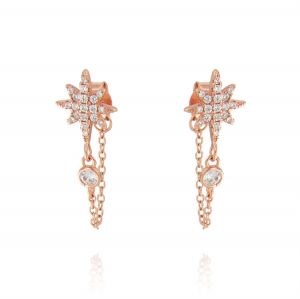 North star earrings with pendant chain - rosé plated