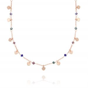 Colored stones and pendat hearts necklace - rosé plated