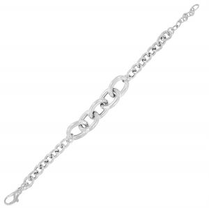 Lateral rolo chain bracelet with central big rings