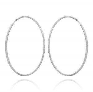 1.5 mm thick diamond-cut hoop earrings - 55 mm