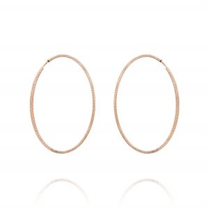 1.5 mm thick diamond-cut hoop earrings - 40 mm - rosé plated