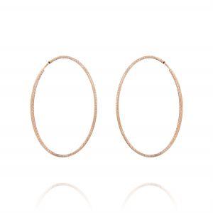 Orecchini a cerchio a canna diamantata 1,5 mm - 40 mm - placcato rosé