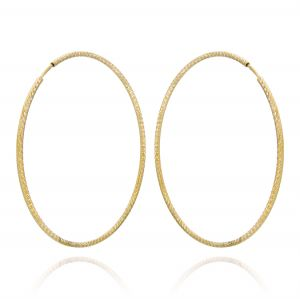 1.5 mm thick diamond-cut hoop earrings - 55 mm - gold plated