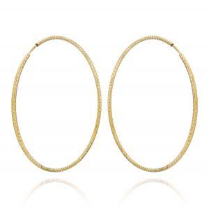 Orecchini a cerchio a canna diamantata 1,5 mm - 55 mm - placcato oro