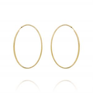 1.5 mm thick diamond-cut hoop earrings - 40 mm - gold plated