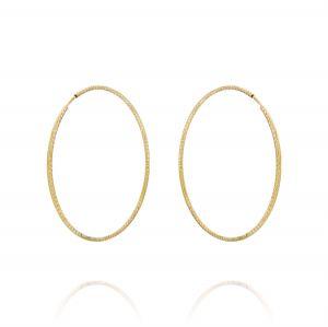 Orecchini a cerchio a canna diamantata 1,5 mm - 40 mm - placcato oro