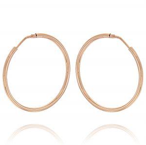 2 mm thick hoop earrings - 60 mm - rosé plated