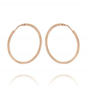 2 mm thick hoop earrings - 50 mm - rosé plated