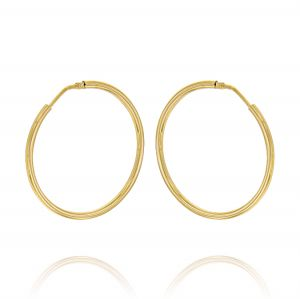 2 mm thick hoop earrings - 50 mm - gold plated