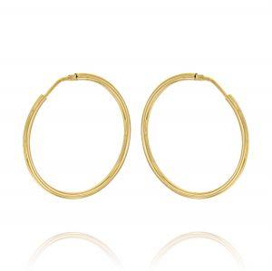 Orecchini a cerchio a canna tonda 2 mm - 50 mm - placcato oro
