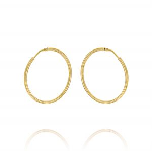 2 mm thick hoop earrings - 40 mm - gold plated