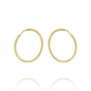 Orecchini a cerchio a canna tonda 2 mm - 40 mm - placcato oro