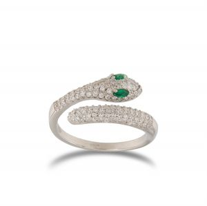 Snake contrariè ring with white cubic zirconia