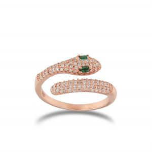 Snake contrariè ring with white cubic zirconia - rosé plated