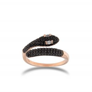 Snake contrariè ring with black cubic zirconia - rosé plated